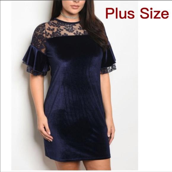Dresses | Plus Size Navy Blue Dress With Lace | Poshmark